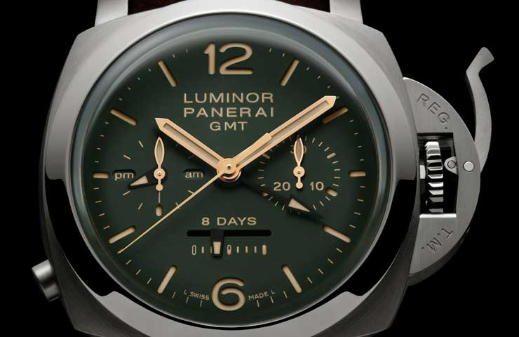 PAM00737 LUMINOR 1950 CHRONO MONOPULSANTE 8 DAYS GMT TITANIO detail1DESTAQUE