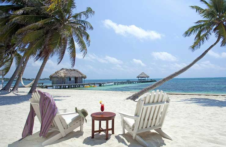 ambergris caye and san pedro belize chairs on beach